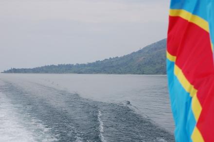 Lake Kivu with DRC flag